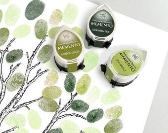 three green ink pads for wedding fingerprint guest book tree - summer set - three momento dew drop tsukineko, baby shower tree
