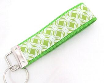 Wristlet Key Fob Key Chain - Cathedral Window in Spring Green - Keychain Keyfob with Lime Green Webbing