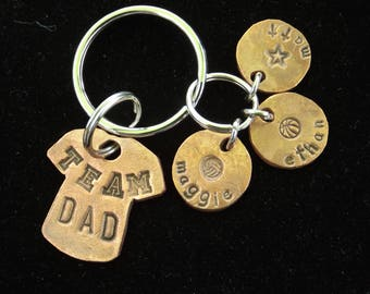 Personalized keychain for dad, Team Dad Keychain, Kids Names Dad Keychain, Father's Day gift idea, KeyChain for Dad, Gift for Dad