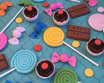 Fondant lollipop, candy, truffles & chocolate toppers