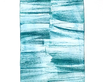 Blue Mood #2, original monotype by Rhonda Lynch