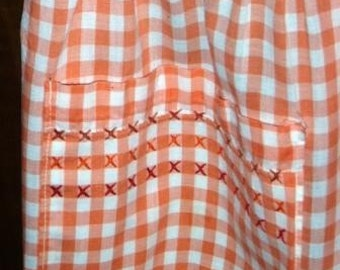 vintage apron ... GINGHAM CHECK CORAL sweet ...