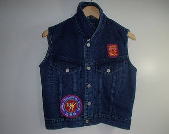 Gucci Patches JEAN VEST PATCHES/ Distressed Custom Designed n Styled/ Gucci ButterflyPatch / Kung Fu Patches Jean Vest