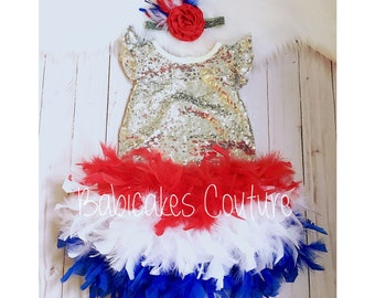 4th Of July Outfit, Full Feather Bloomer, Baby Girl Silver Sequin Leotard, 4th of July Pageant, Girls Red White Blue Outfit Independence Day