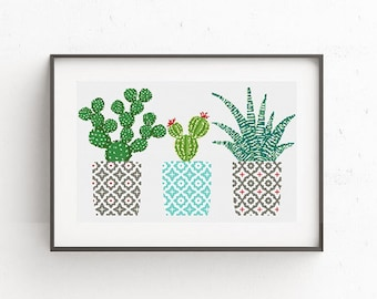 Cactus cross stitch pattern Geometric cross stitch pattern Natural embroidery sampler Flower, floral cross stitch PDF printable Modern Gift