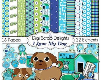 """2 Dollar Sale!   Dog Digital Scrapbook Kit """"I Love My Dog"""" Instant Download Green and Blue for Digital Scrapbooking, Card Making"""