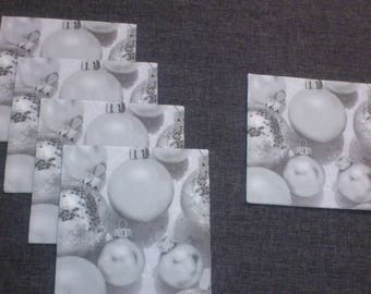 a set of 5 towels Winterland silver starry Christmas balls