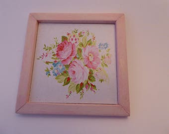 Beautiful handmade floral miniature picture for the 1/12th scale dolls house - pink