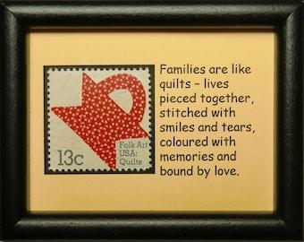Folk Art Quilts USA -Handmade Framed Postage Stamp Art 0139W