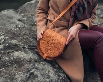 Brown Leather bag leather shoulder bag Crossbody Bag handmade leather bag Messenger Bag leather Handbag Ethnic Bag women bag gift for her