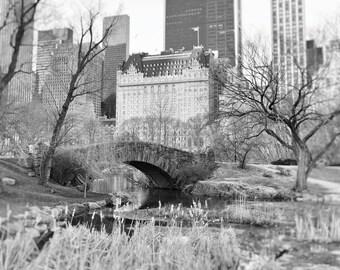 Central Park, Gapstow Bridge, Plaza Hotel, New York Photography, Black and White, Landscape, NYC, Romantic, New York Wall Art, Home Decor