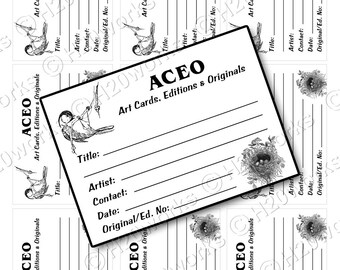 Bird ACEO Back - Bird, Nest, Back, Stamp, atcs, Artist Trading Card, Art Card, Artist Info, Title, Edition, Signature, INSTANT DOWNLOAD