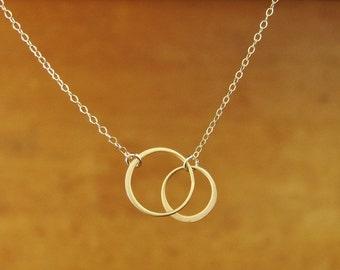 GOLD Eternal Circles Pendant Necklace, medium circles, bridesmaid gift, wedding, gift idea, 16x12