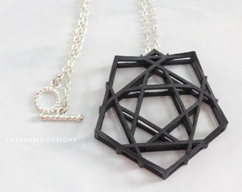 Necklace - silver - 3d Printed Pendant - black - edgy - jotd - geometric - silver chain - nickel free - toggle - modern - architectural