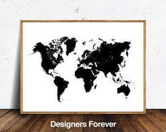 Black and white map etsy world map poster world map world map print black and white map gumiabroncs Gallery