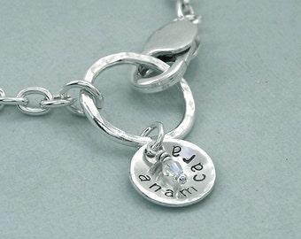 Anam Cara - Hand Stamped Sterling Silver Charm Bracelet