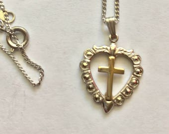 Vintage Sterling Silver Marcasite Heart with Gold Cross Pendant Necklace