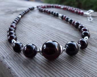 Natural Graduated Garnet and Sterling Silver Gemstone and Birthstone Necklace