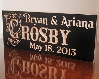 Custom Wedding Date Sign, Custom Wedding Gift, 5 Year Anniversary Gift, Engagement Gift, Benchmark Signs, Benchmark Custom Signs, Maple TJ