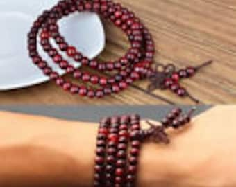 Rosewood beads Tibetan Buddhist prayer beads ~ stretch necklace or bracelet 6mm