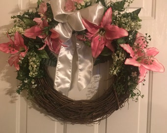 Pink lily grapevine wreath
