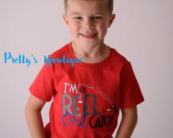 I'm a reel cool catch bodysuit or shirt boy -- Embroidered fishing shirt -- Boys Fishing shirt -- Boys summer shirt--kids fishing shirt