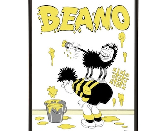 Beano Wall pop art print, with Dennis the Menace & Gnasher the dog, applying paint, or graffiti, with a pot of paint and a paintbrush
