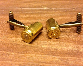 Father's Day Gift - 9mm Bullet Shell Cufflinks Antique Styling - 9mm Ammo Jewelry - Pair