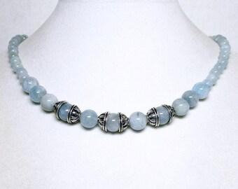 Genuine Aquamarine, Aquamarine Necklace, OOAK, Aquamarine Jewelry, Jewelry Set, Necklace Earrings, Unique Necklace, One of a kind