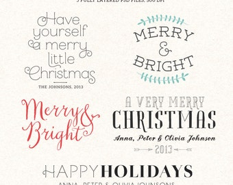 Digital Christmas overlays - holiday photo card overlays template PSD