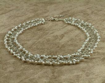 "Wire Choker with Grey Pearls (Κολιέ ""Choker"" με Γκρι Μαργαριτάρια)"