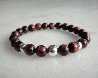Red tigers eye bracelet with sterling silver beads / Stone beaded bracelet sterling silver bracelet tiger's eye mens bracelet quartz