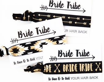 Bride Tribe Hair Ties | Bachelorette Party Favors, Bride Tribe Elastic Hair Ties, Wedding Party + Bridesmaid Gifts, Tribal Boho Bachelorette