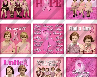 Digital Collage Sheet Scrabble Size 0.85 X 0.85  Breast Cancer Awareness  (Sheet no.FS137) Instant Download