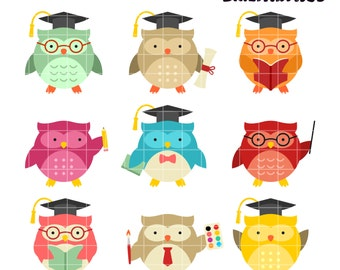 School Owls Clip Art,  Nerdy Owls Clipart,  Smart Animal Printable,  Lesson Pal Clip Art, Digital Art,  Clip Art,  Royalty Free