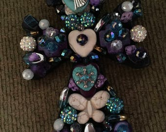 Turquoise, purple and cream jeweled & beaded cross