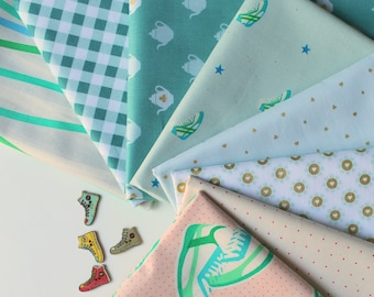 Mint and pink Janum curated bundle- 8 fat quarters