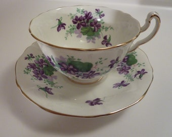 Vintage English Tea Cup and Saucer with Purple Flowers and Gold Rim - Royal Adderley Fine Bone China, Made in England