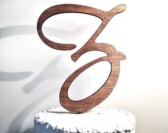 Wooden Wedding Cake Topper: Letter Z, Monogram Cake Topper, Rustic Cake Topper, Handmade Cake Topper