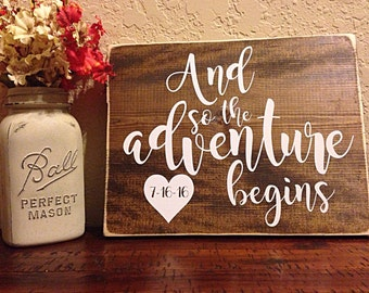 And so the adventure begins   wedding sign   wedding decor   wood wedding sign   nursery decor   custom date sign