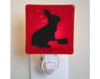 Bunny Rabbit Night Light - Fused Glass - Funny Gift