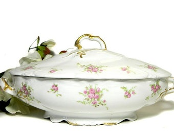 Antique C. Ahrenfeldt Limoges Oval Covered Serving Bowl Roses and Ribbon