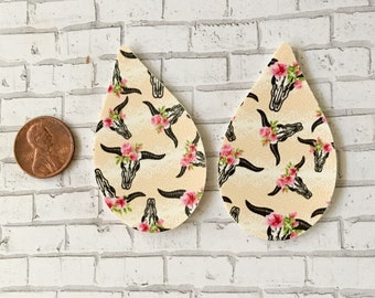 Cow Skull Floral Faux Leather Pleather Shapes Cut Outs Earring Supplies Do It Yourself Craft Jewelry Supplies (2 Pieces)