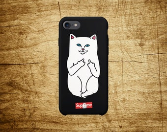 Supreme cat phone case for iPhone 5 5s SE 6 6S 7 8 Plus X Samsung S7 Edge S8 Plus