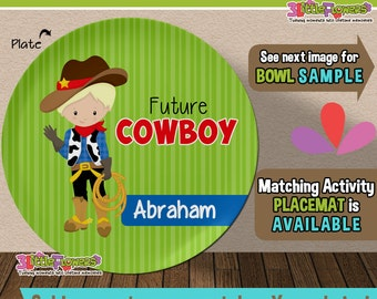 Future Cowboy Plate and Bowl Set - Personalized Plastic Children Plate Cereal Bowl - CHOOSE HAIR SKIN color - Career Plate Set