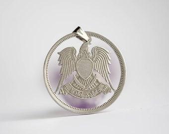 Egypt Cut Coin Necklace. 10 Piastres, 1391-1392 (1972-1973). Eagle