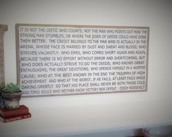 Large Wooden Sign Teddy Roosevelt Quote Wood Sign Large Wooden Plaque Inspirational SIgn 49 x 25