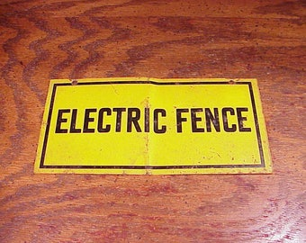 Vintage, Rusty, Rustic Electric Fence Warning Tin Metal Sign, Wall, Country, Cabin, Ranch, Garden, Man Cave, Home Decor, Old Range, Field
