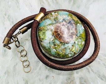 Orgonite® Orgone Pendant (Large) - Ammonite/Quartz/Peridot/Amazonite - FREE WORLDWIDE SHIPPING!