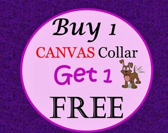 BOGO CANVAS Dog Collar (Non-Martingale) - Buy 1 Canvas Collar & Get 1 Canvas Collar Free - Choose Any Canvas Fabric in Shop
